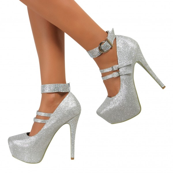 Silver Sparkly Heels Prom Shoes Ankle Strap Stiletto Heel Pumps image 4