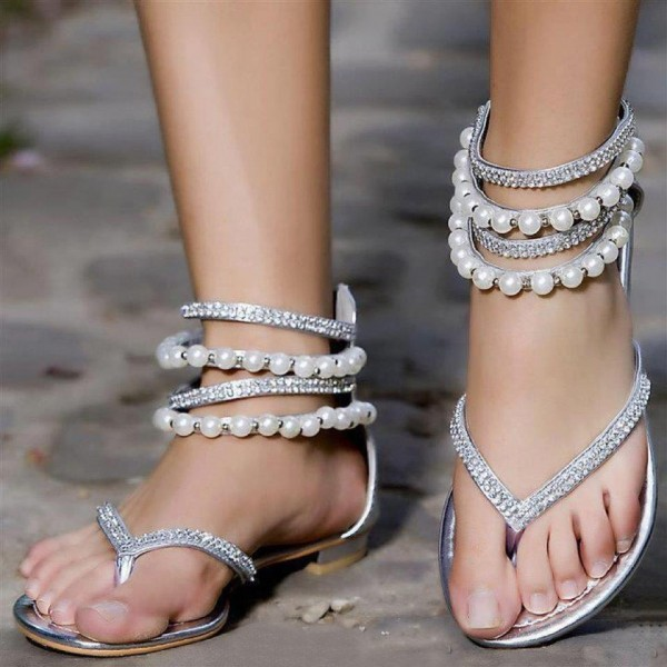Silver Wedding Flats Rhinestone Summer Flat Beach Sandals image 1