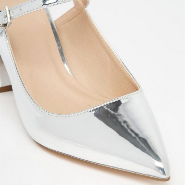 Silver Pointy Toe Mirror Leather Block Heels Slingback Pumps image 3
