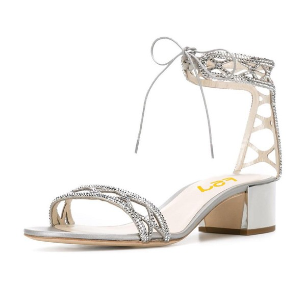 Silver Laser Cut Wedding Shoes Rhinestone Hotfix Heeled Sandals image 1