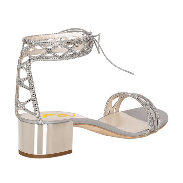 Silver Laser Cut Wedding Shoes Rhinestone Hotfix Heeled Sandals image 6