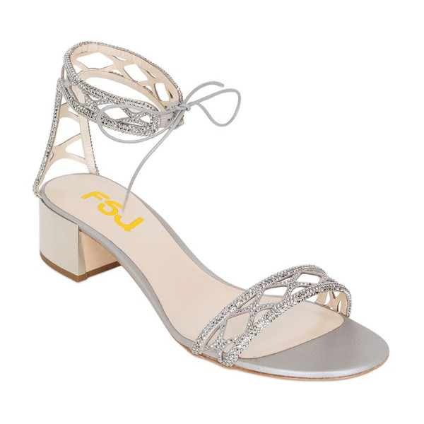 Silver Laser Cut Wedding Shoes Rhinestone Hotfix Heeled Sandals image 7