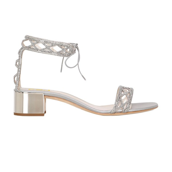 Silver Laser Cut Wedding Shoes Rhinestone Hotfix Heeled Sandals image 8
