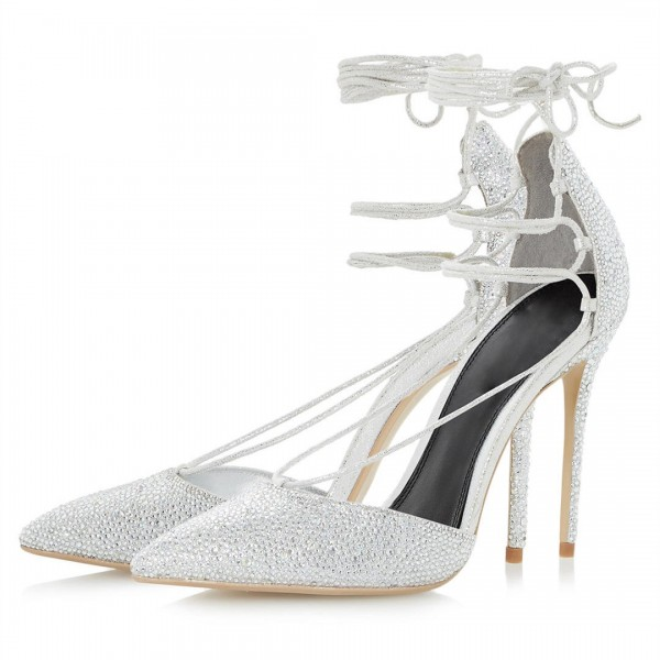 Silver Bridal Heels Rhinestone Hotfix Strappy Closed Toe Sandals image 1