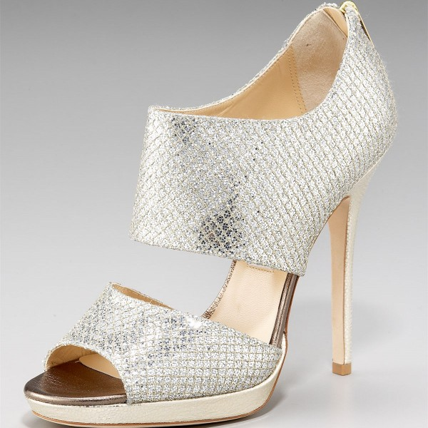 Silver Bridal Heels Sparkly Sandals Cutout Stiletto For Wedding Image 2
