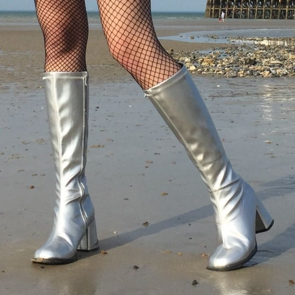 Silver Chunky Heel Boots Square Toe Knee-high Long Boots image 1