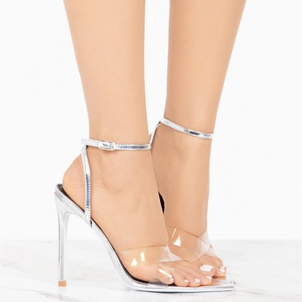 Silver Ankle Strap Sandals Clear Shoes High Heel Slingback Sandals image 2