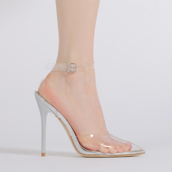 Clear Heels Ankle Strap PVC Closed Toe Sandals for Women image 2