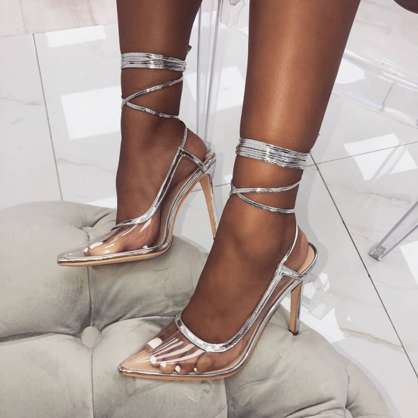 Silver Clear Heels Strappy Heels Pointy Toe Slingback Heels Pumps image 1