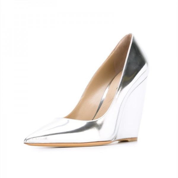 Silver Closed Toe Wedges Metallic Heels Pumps for Women image 1