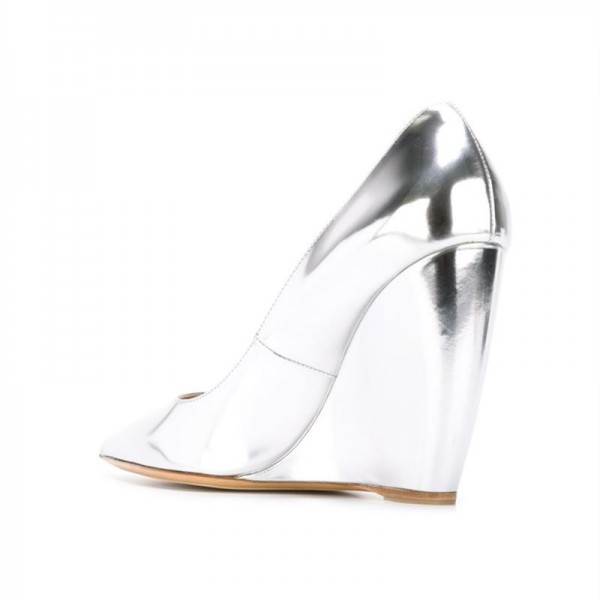 Silver Closed Toe Wedges Metallic Heels Pumps for Women image 2