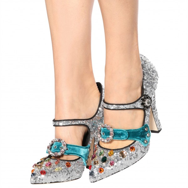 Silver Colors Rhinestone Heels Sequined Pointy Toe Mary Jane Pumps image 1