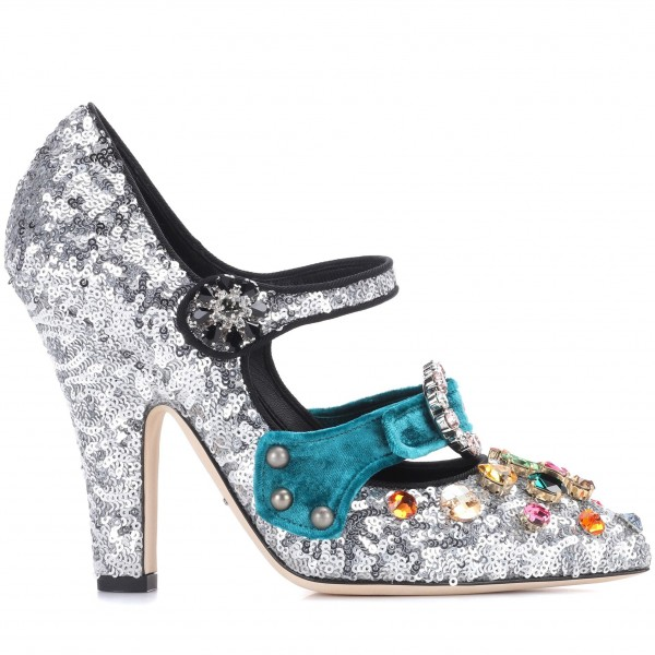 Silver Colors Rhinestone Heels Sequined Pointy Toe Mary Jane Pumps image 2