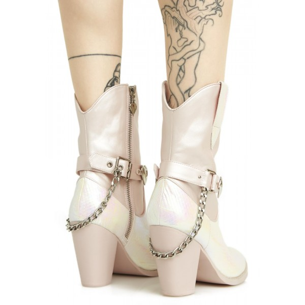 Silver Cowgirl Boots Chunky Heel Mid Calf Boots with Chains image 5