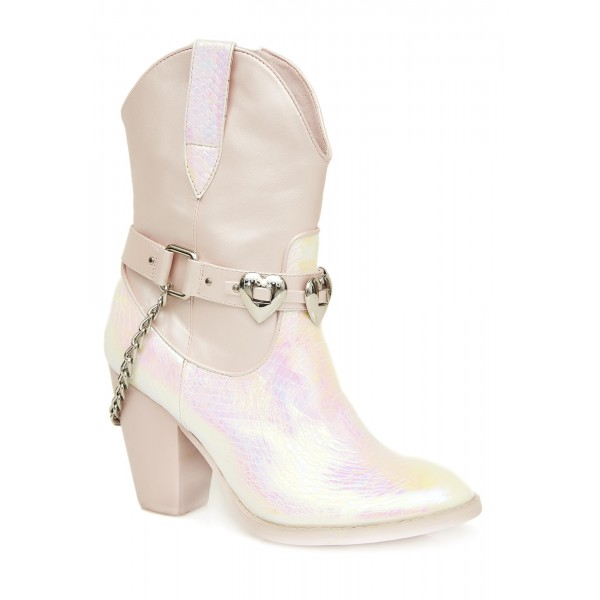 Silver Cowgirl Boots Chunky Heel Mid Calf Boots with Chains image 3