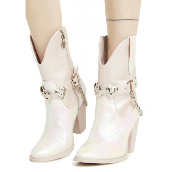 Silver Cowgirl Boots Chunky Heel Mid Calf Boots with Chains image 2