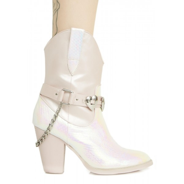 Silver Cowgirl Boots Chunky Heel Mid Calf Boots with Chains image 4