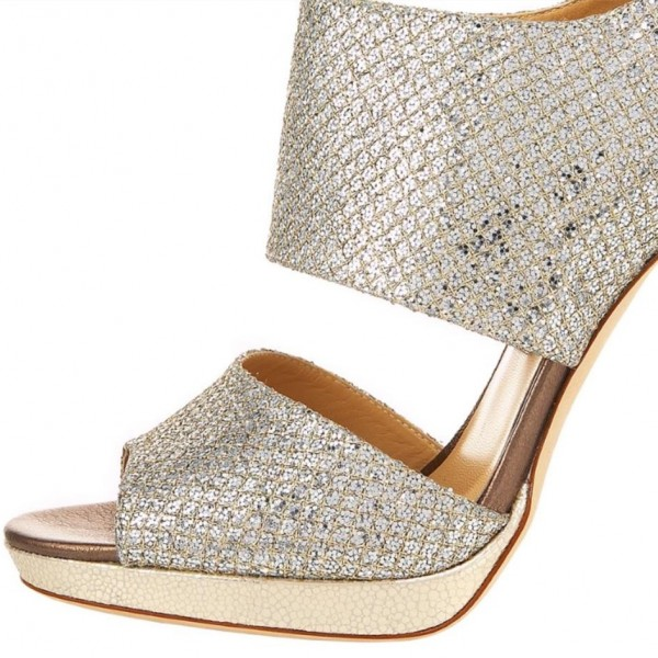 Silver Bridal Heels Sparkly Sandals Cutout Stiletto Heels for Wedding image 3