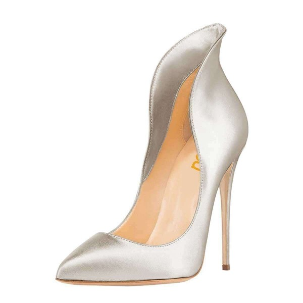 Silver Evening Shoes Stiletto Heels Collar Pumps Dress Shoes image 1