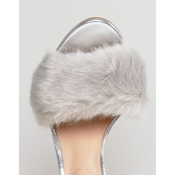 Silver Fur Heels Glitter Open Toe Stiletto Heel Ankle Strap Sandals image 2