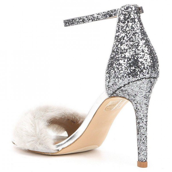Silver Fur Heels Glitter Open Toe Stiletto Heel Ankle Strap Sandals image 3