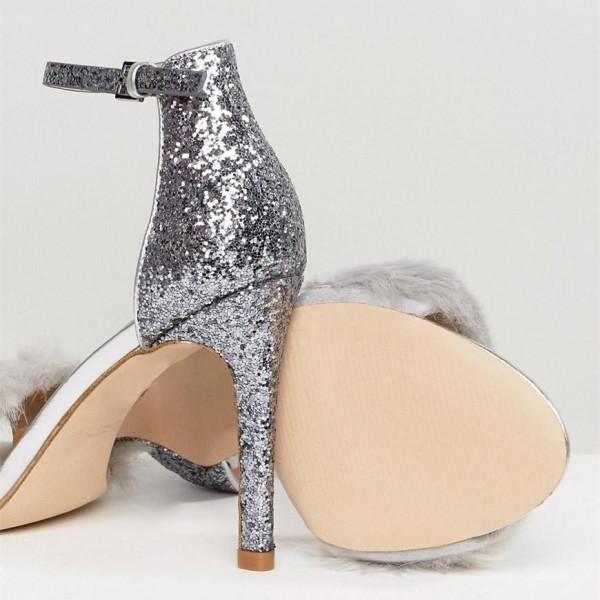 Silver Fur Heels Glitter Open Toe Stiletto Heel Ankle Strap Sandals image 5