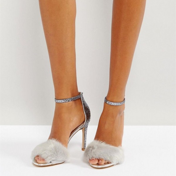 Silver Fur Heels Glitter Open Toe Stiletto Heel Ankle Strap Sandals image 1