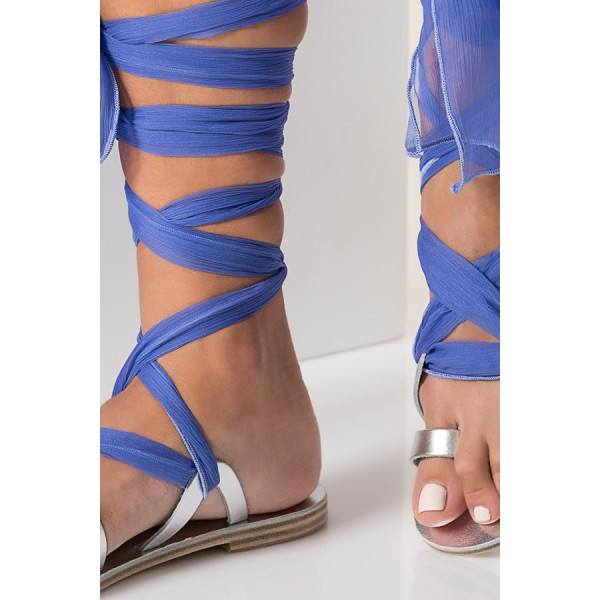 Silver Gladiator Sandals Open Toe Blue Scarves Strappy Sandals image 3