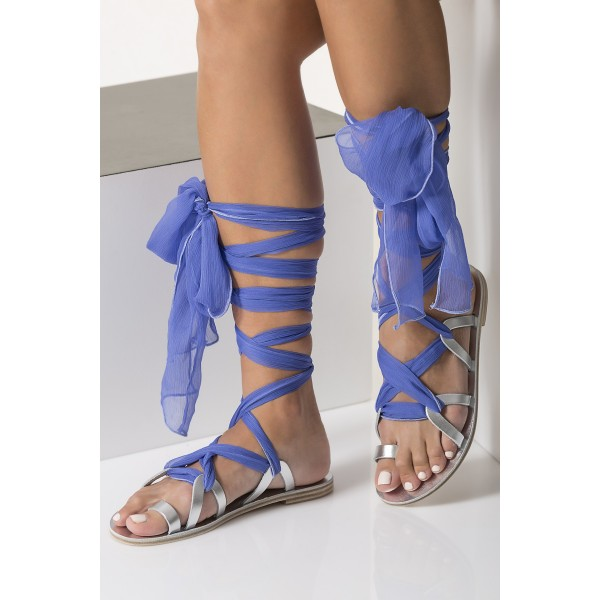 Silver Gladiator Sandals Open Toe Blue Scarves Strappy Sandals image 2