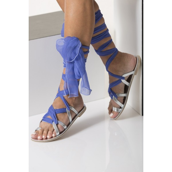 Silver Gladiator Sandals Open Toe Blue Scarves Strappy Sandals image 4