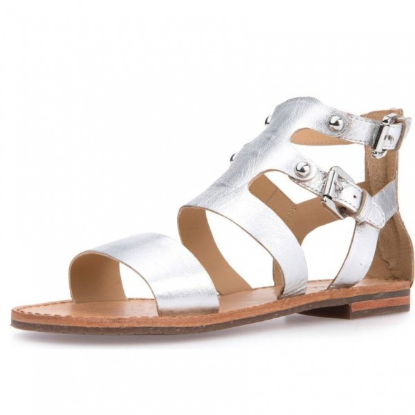 2f0d9cdbb Silver Gladiator Sandals Open Toe Flats Vintage Sandals with Buckle image 1  ...