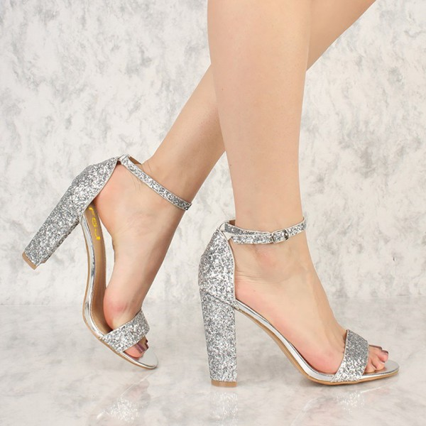 ... Women's Silver Glitter Shoes Chunky Heels Ankle Strap Sandals image ...