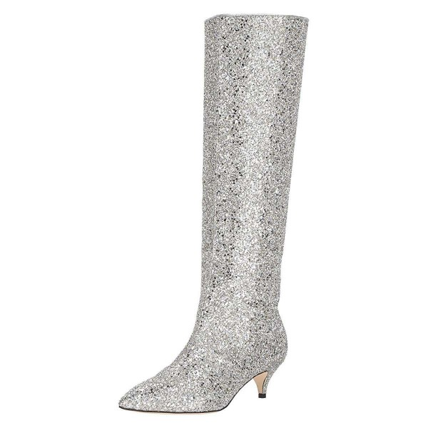 fcc48bc7758 Silver Glitter Boots Kitten Heel Knee-high Boots image 1 ...