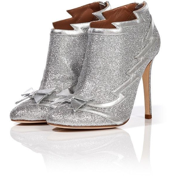 Silver Glitter Bow Stiletto Boots Ankle Booties  image 1