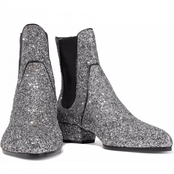 Silver Glitter Chelsea Boots Chunky Heels Ankle Booties image 2