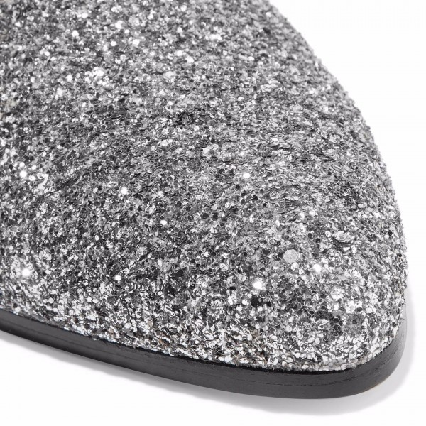 Silver Glitter Chelsea Boots Chunky Heels Ankle Booties image 3