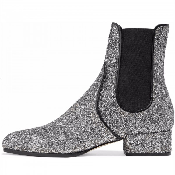 Silver Glitter Chelsea Boots Chunky Heels Ankle Booties image 1