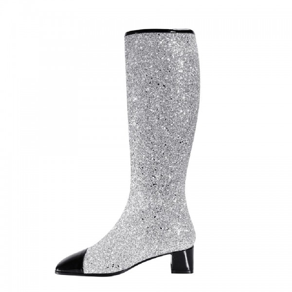 Silver and Black Glitter Boots Block