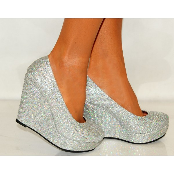 Silver Closed Toe Wedges Glitter Round Toe Platform Pumps image 3