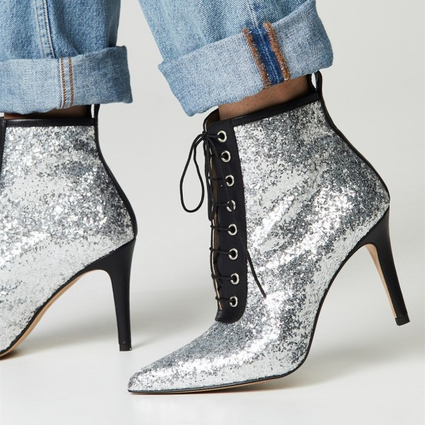 f42100cba02 Silver and Black Glitter Boots Pointy Toe Lace up Ankle Booties image 1 ...