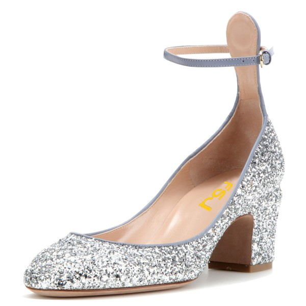 Silver Glitter Shoes Ankle Strap Block Heel Pumps image 1 ... 9911fd2b839f