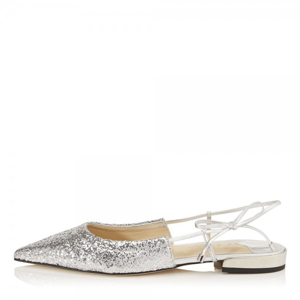 Silver Glitter Shoes Flat Pumps image 1