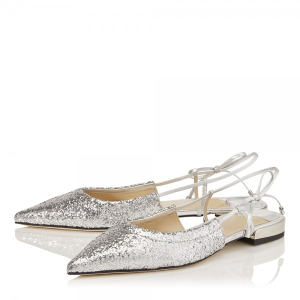 Silver Glitter Shoes Flat Pumps image 2