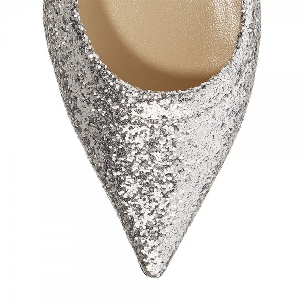 Silver Glitter Shoes Flat Pumps image 3