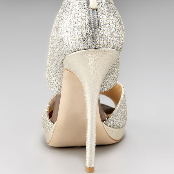 Silver Bridal Heels Sparkly Sandals Cutout Stiletto Heels for ...