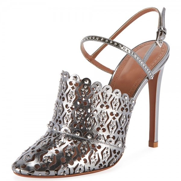Silver Rhinestone Hollow Out Stiletto Heel Pumps image 1