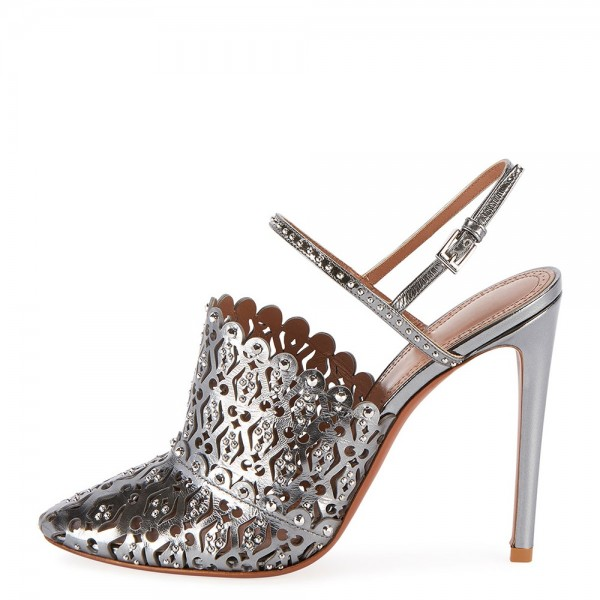 Silver Rhinestone Hollow Out Stiletto Heel Pumps image 2