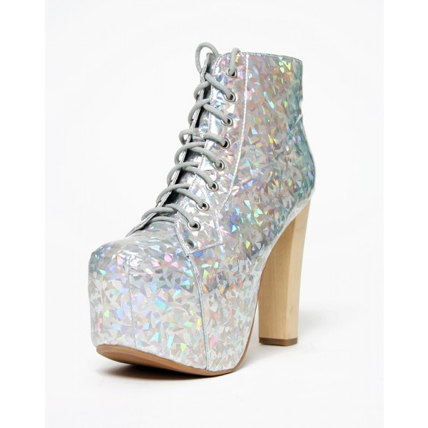 7a73fbffdfe ... Silver Lace up Holographic Shoes Chunky Heels Platform Ankle Booties  image 3 ...