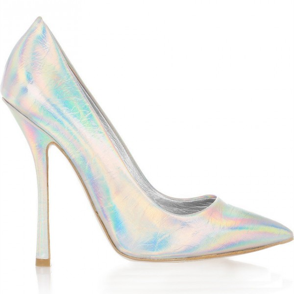 FSJ Pointy Toe Stiletto Heel Holographic Shoes in Silver image 2