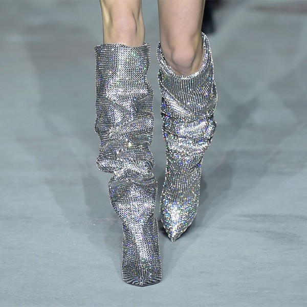 Silver Hotfix Slouch Boots Chunky Heel Knee High Boots image 1